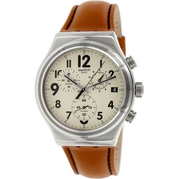Swatch Men's Irony YVS408 Carmel Leather Swiss Quartz Watch