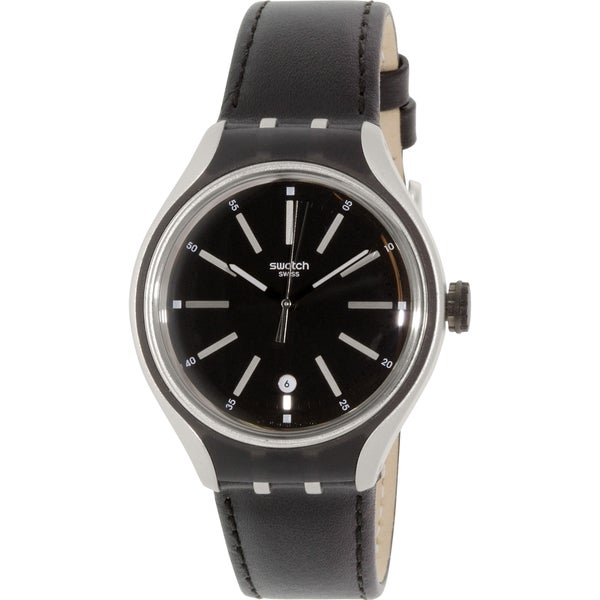 Swatch Men's Irony YES4003 Black Leather Quartz Watch