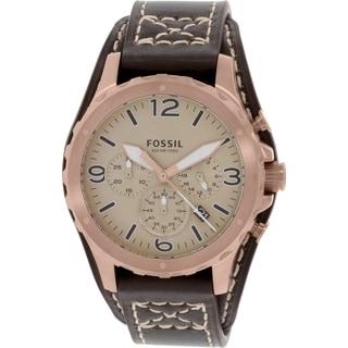 Fossil Men's Nate JR1495 Brown Leather Quartz Watch