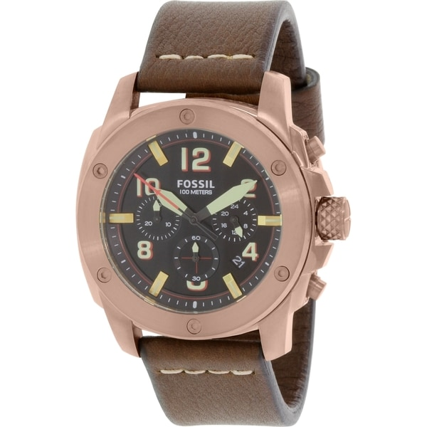 Fossil Men's Modern Machine FS5065 Brown Leather Quartz Watch