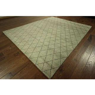 Hand-knotted Berber Collection Wool Ivory Moroccan Area Rug (8' x 10')