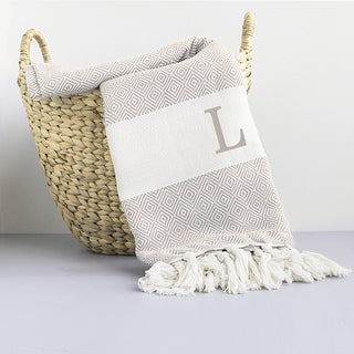 Personalized Beige Turkish Throw Blanket