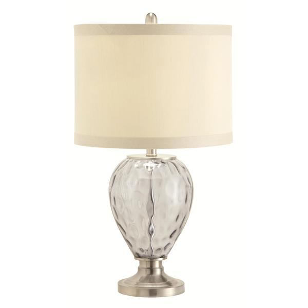 Liberty Smoked Glass And Chrome Table Lamp with Fabric Shade