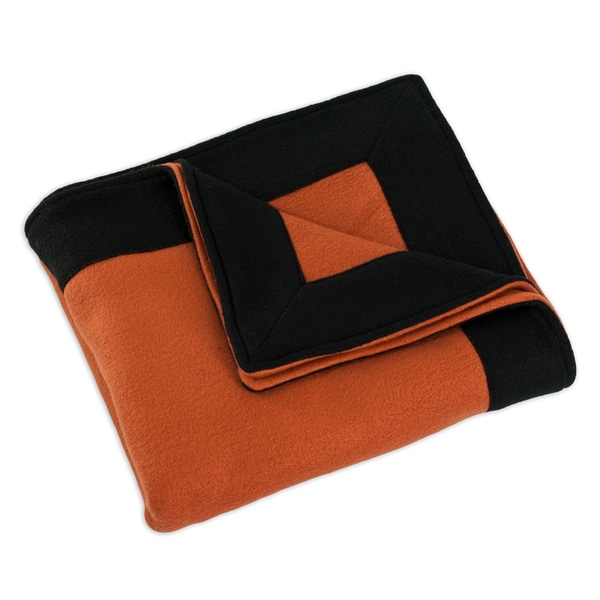 Fleece Burnt Orange/ Black Simply Soft Throw