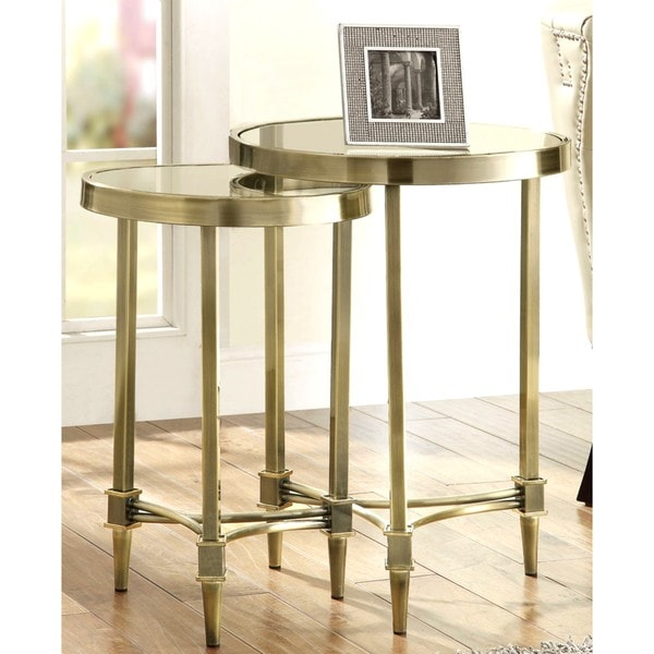 Bronze Nesting Coffee Tables: Clifford Bronze Nesting Table Set With Glass Top (Set Of 2