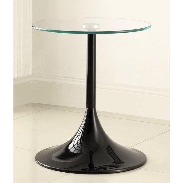 Contemporary Black Gloss Finish Side/ EndTable with Tempered Glass Top
