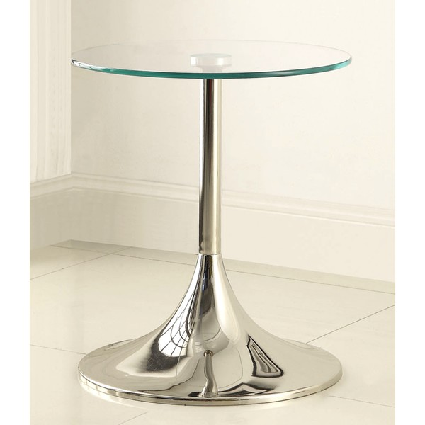 Contemporary Nickel Finish Snack Table with Tempered Glass Top
