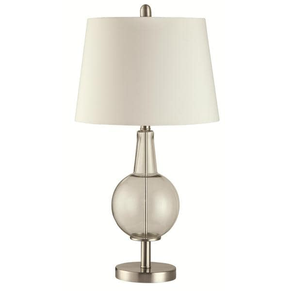 Harriet Unique Glass And Chrome Table Lamp with White Shade
