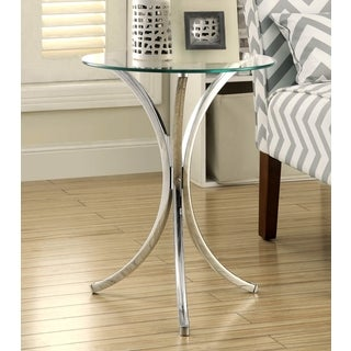 Talisa Chrome Snack Table with Tempered Glass Top