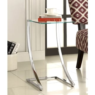 Uptown Chrome Snack Side Table With Clear Tempered Glass Top