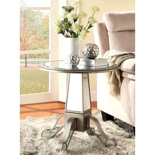 Modern Silver Mirrored Accent Table with Pedestal Base