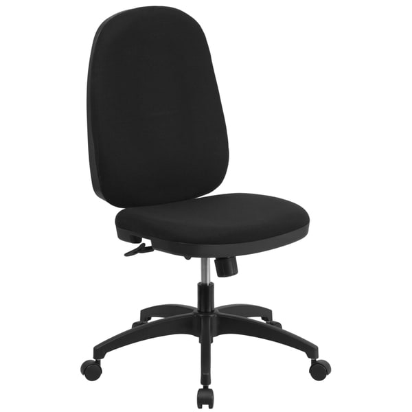 High Back Black Fabric Multi-functional Swivel Task Chair with Back Angle Adjustment