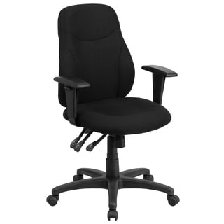 Mid-back Black Fabric Multi-functional Ergonomic Chair with Height Adjustable Arms