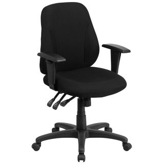 Mid-back Black Fabric Multi-functional Ergonomic Chair with Height Adjustable Arms with Height Adjustable Arms