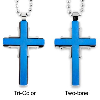 Men's Blueplated Stainless Steel Brushed and Polished Cross Pendant