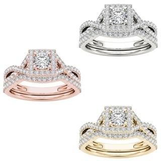 De Couer 14k Gold 1ct TDW Princess Diamond Ring (H-I, I2)