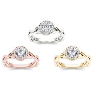 De Couer 14k Gold 1/2ct TDW Diamond Criss-Cross Halo Engagement Ring (H-I, I2)