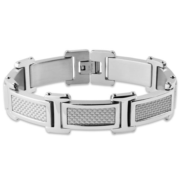 Crucible Stainless Steel Grey Carbon Fiber Link Bracelet