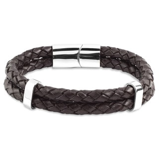 Crucible Stainless Steel Brown Braided Leather Bracelet
