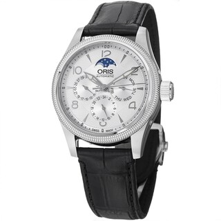 Oris Men's 582 7678 4061 LS 'Big Crown' Silver Dial Black Leather Strap Complication Swiss Automatic Watch