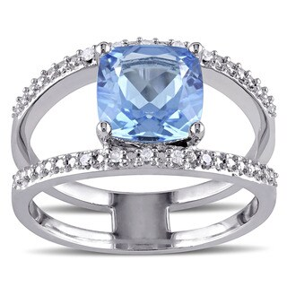 Miadora Sterling Silver Blue Topaz and Diamond Accent Cocktail Ring