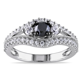 Miadora Sterling Silver 1/2ct TDW Black Diamond and Created White Sapphire Ring