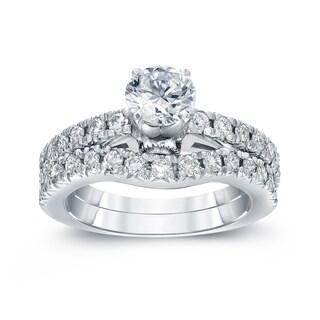 Auriya 14k White Gold 1 3/4ct TDW Round Diamond Bridal Ring Set (H-I, SI2-SI3)