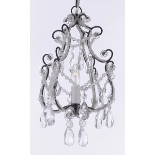 Wrought Iron and Crystal Black Chandelier Pendant