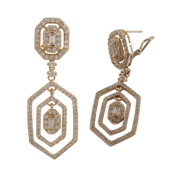 Sterling Silver Cubic Zirconia Geometric Dangle Earrings