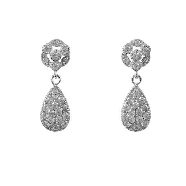 Luxiro Sterling Silver Micropave Cubic Zirconia Teardrop Dangle Earrings 16012572