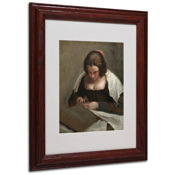 Diego Velazquez 'The Needlewoman 1640-50' White Matte, Wood Framed Wall Art 16012623