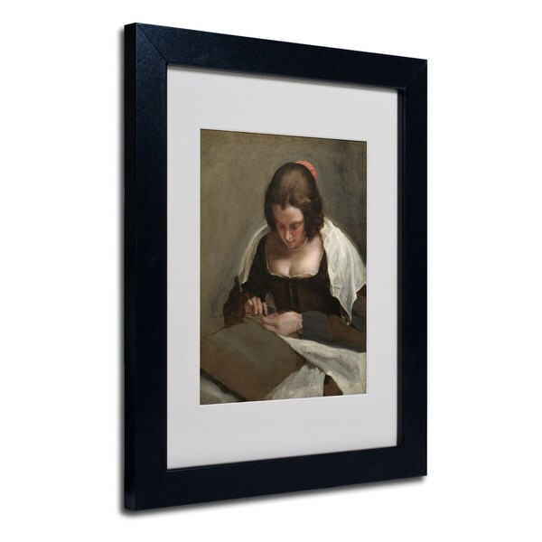 Diego Velazquez 'The Needlewoman 1640-50' White Matte, Black Wood Framed Wall Art 16012628