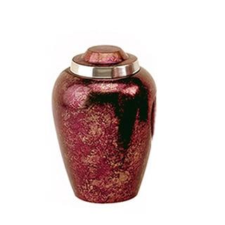 Elegante Burgundy-plum Alloy Urn with Pouch