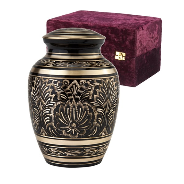 Elegante Black and Gold Gee Motif Series Urn with Case