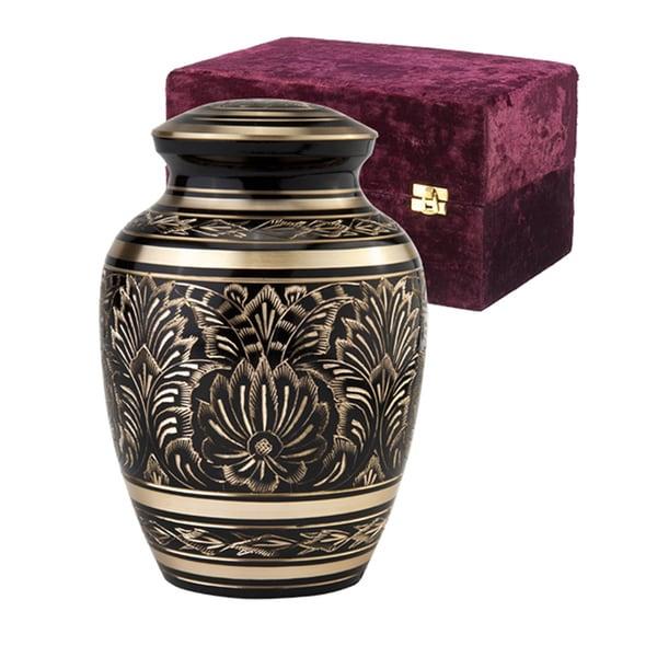 Elegante Black and Gold Gee Motif Series Urn with Case