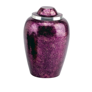 Elegante Hand-painted Burgundy Plum Alloy Adult Urn with Pouch