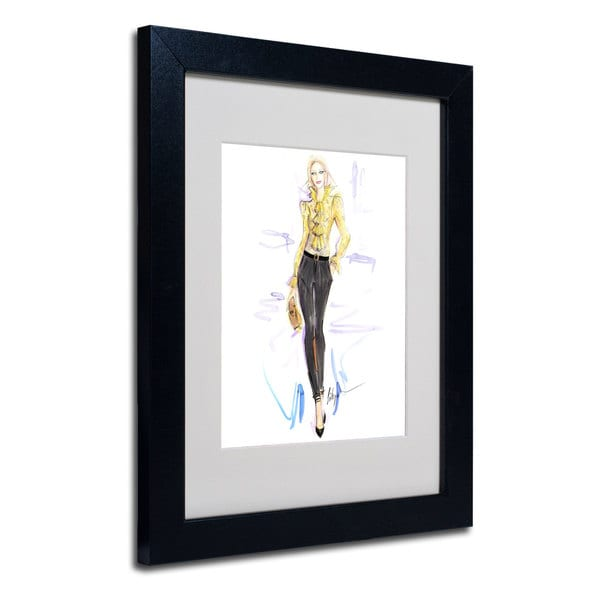 Jennifer Lilya 'Honey Mustard' White Matte, Black Wood Framed Wall Art