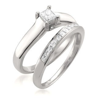 Montebello 14k White Gold 5/8ct TDW Princess-cut White Diamond 2-piece Bridal Set (G-H, VS1-VS2)