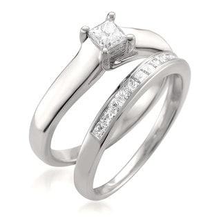 14k White Gold 5/8ct TDW Princess-cut White Diamond 2-piece Bridal Set (G-H, VS1-VS2)