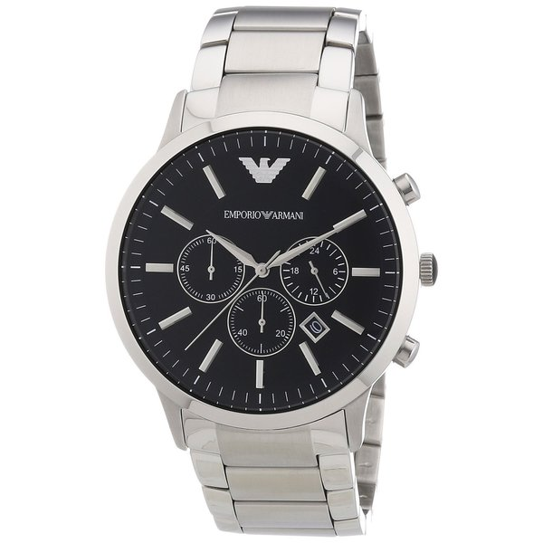 Emporio Armani Men's Sportivo Chronograph Black Dial Stainless Steel Bracelet Watch AR2460