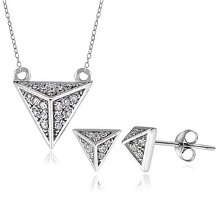 Icz Stonez Sterling Silver Cubic Zirconia Pyramid Necklace and Earring Set
