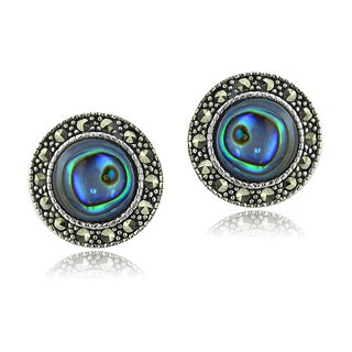 Glitzy Rocks Sterling Silver Abalone and Marcasite Round Stud Earrings