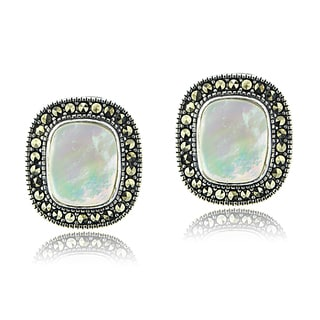 Glitzy Rocks Sterling Silver Mother of Pearl and Marcasite Earrings