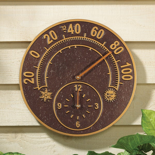 Whitehall Antique Copper Solstice Thermometer Clock
