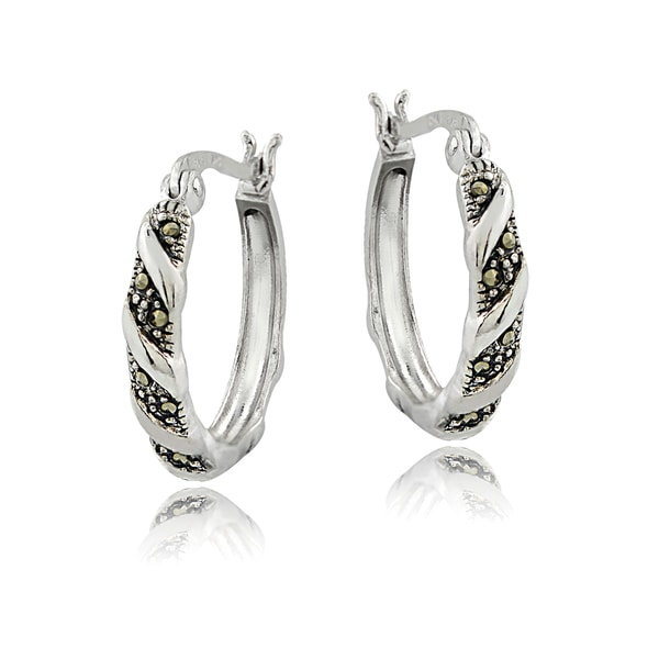 Glitzy Rocks Sterling Silver Marcasite Twist Small Hoop Earrings