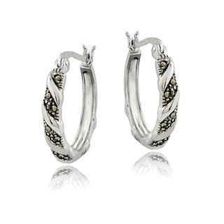 Glitzy Rocks Sterling Silver Marcasite Twist Small Hoop Earrings