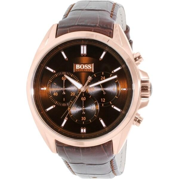 Hugo Boss Men's 1513036 Brown Leather Quartz Watch