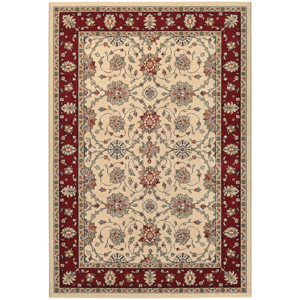 Couristan Traditions Halle Ivory Ruby  Area Rug (5'3 x  7'6) 16013395