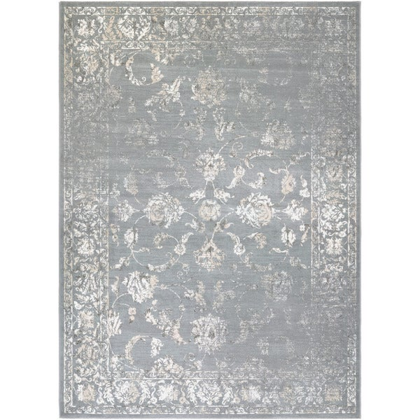 Couristan Provincia Botanic Appliqu Grey/ Cream Area Rug (5'3 x 7'6)