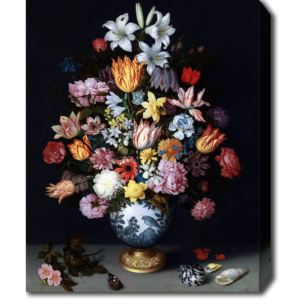 Ambrosius Bosschaert the Elder 'A Still Life of Flowers in a Wan-Li Vase' Oil on Canvas Art